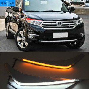 2Pcs For Toyota Highlander 2012 2013 2014 LED Daytime Running Light Yellow Turn Signal Relay Car Headlight Eyebrow Decoration