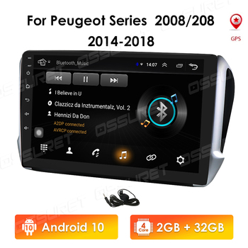 4G LTE Android 10 2din Autoradio For Peugeot 2008 208 Series 2014-2018 Multimedia Stereo Car DVD Player Navigation GPS Radio RDS image