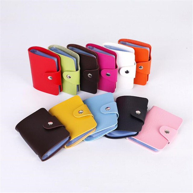 ZOVYVOL 24 Bits Credit Card Holder Women Men ID Wallet Solid Colorful Button Small Purse Soft Leather Bussiness Mens Money Bag 4