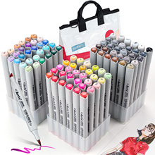 Arrtx OROS 90 Colors Alcohol Art Markers Set, Brush and Chisel Tips Permanent Artist Alcohol-Based Sketch Markers with Woven Bag