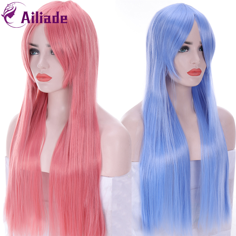 AILIADE 75CM Long Straight Wig For Women Blue Pink Hair With Bangs Heat Resistant Synthetic Hair Wigs Cosplay Wigs