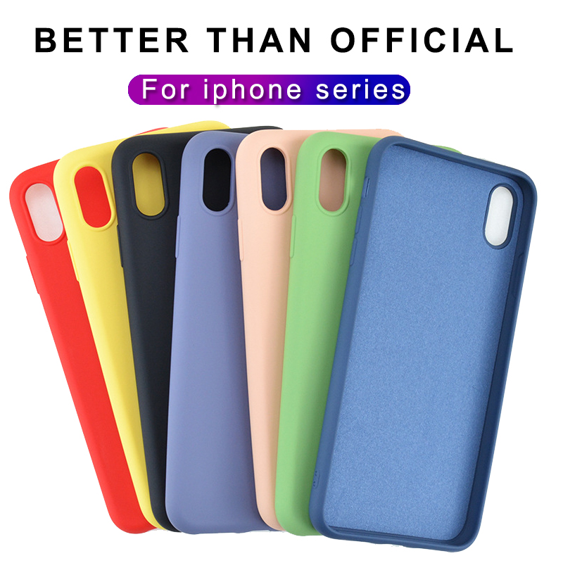 Luxury Thin Soft Official Silicone Case For iphone 7 8 6S 6 Plus X XS 11 Pro MAX XR Case for Apple iphone X 10 Cover case Coque(China)