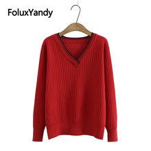 Женский свитер с v образным вырезом Повседневный пуловер длинным