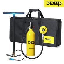 Dideep 1L Duiken Cilinder Mini Zuurstof Tank Set Respirator Lucht Tank Handpomp Voor Snorkelen Adem Duikuitrusting