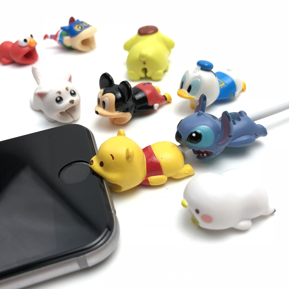 For Mobile Phone micro USB Cable Protector organizer Winder cute Animal Cartoon stitch series Sleeve cover Bites manangement