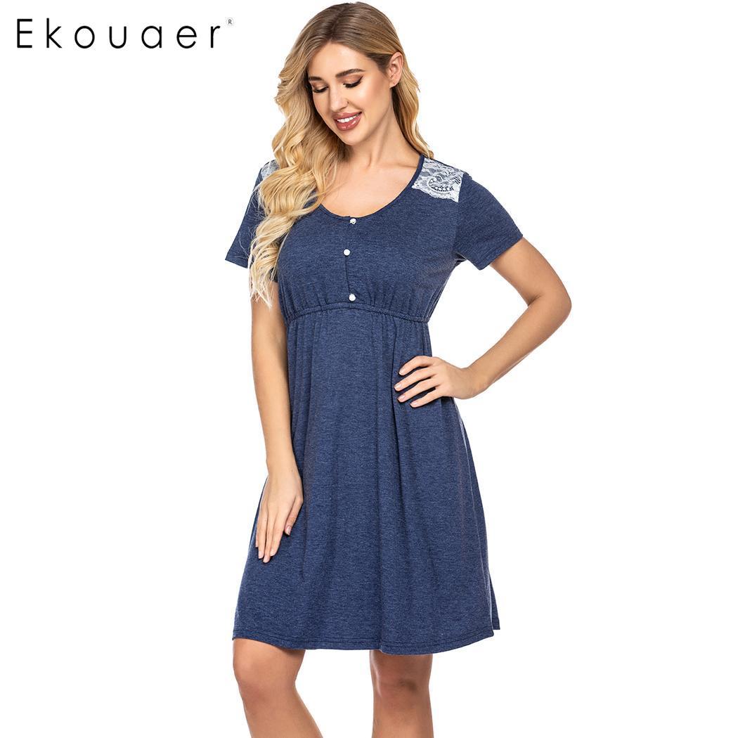 Ekouaer Summer Sleepwear Women Comfortable   Nightgown   O-Neck Short Sleeve Pregnant Nightdress Chemise   Sleepshirts   Dress