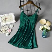 Women Sexy Nightgown Stain Sleepwear Sleep Dress V Neck Strappy Solid Nightwear Night Dress Female Clothes Mujer Vestido