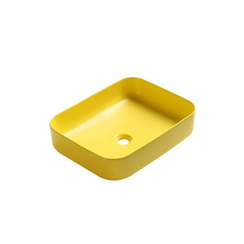 Nordique jaune au-dessus du comptoir bassin en céramique carré salle de bain Art lavabo shampooing éviers peints à la main porcelaine éviers sans robinet