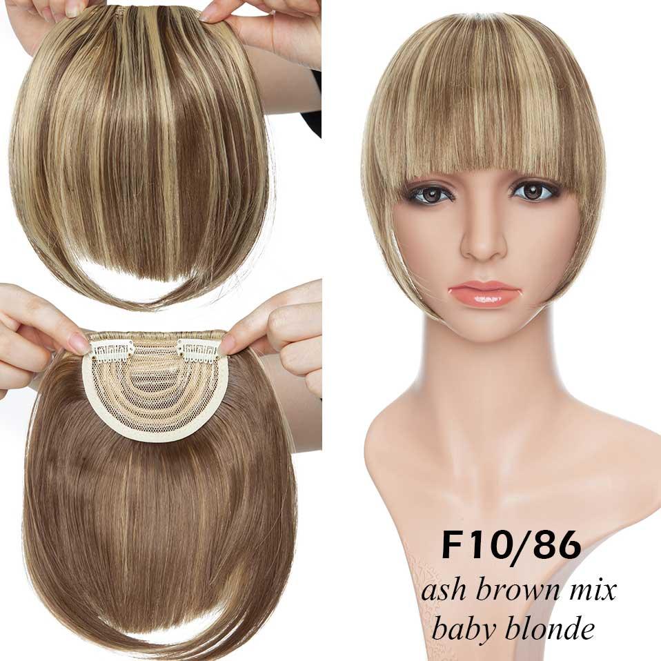 SNOILITE короткие передние тупые челки Клип короткая челка волосы для наращивания прямые синтетические настоящие натуральные накладные волосы - Цвет: 10-86