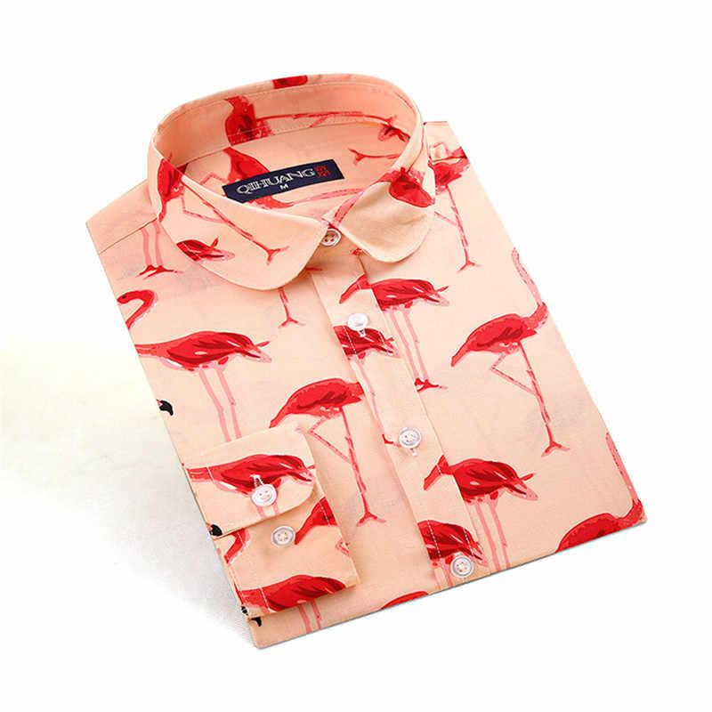 Sishion Cotone Flamingo Stampa Camicetta Donne VD1324 Manica Lunga Dell'annata Delle Signore Delle Donne Magliette E Camicette Camicie Grandi Taglie
