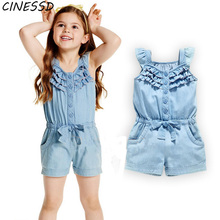 Baby Rompers 1-5Years Flying Sleeve Denim Clothes for Kids Girls Summer Sleeveless Solid Jumpsuit Rompers Children Girl Clothing jumpsuit lucky child for girls and boys 5 4 0m 12m children s clothes kids rompers for baby