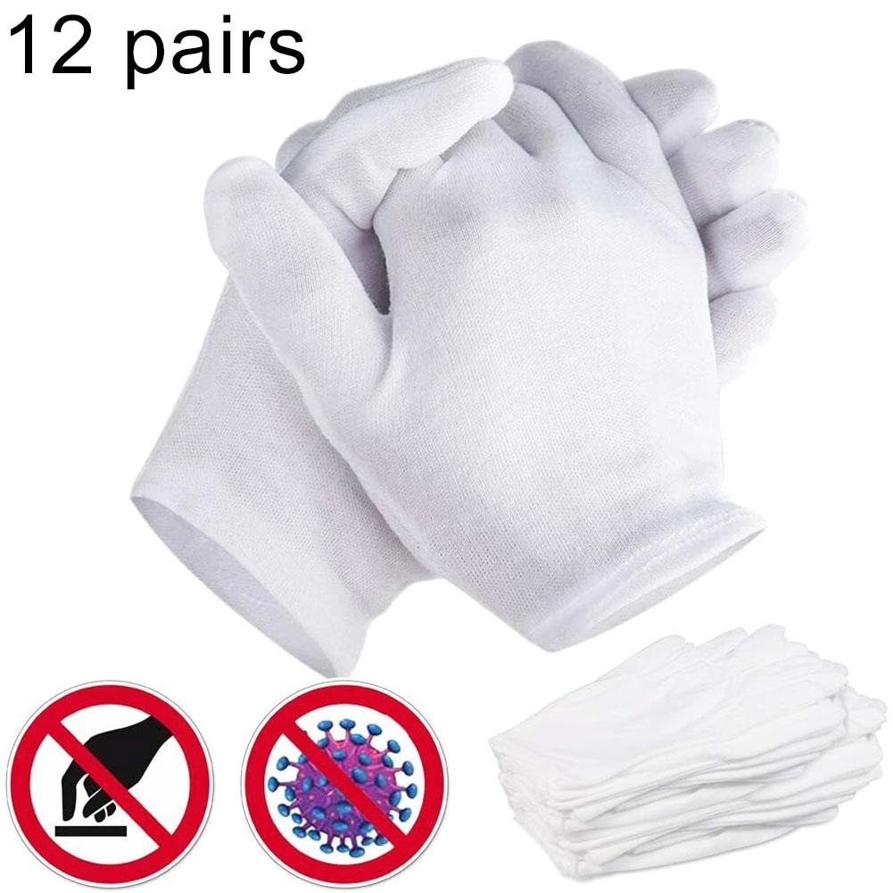 12 Pairs Medical-Disposable  Cotton Breathable Work Jewelry Inspection Etiquette Gloves Protector Gloves Hygiene Mask Instock