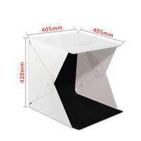 2 LED Folding Lightbox 40cm Mini Photography Studio Diffuse Soft Box Lightbox Photography Black White Background Kit Light box