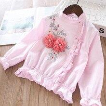2020 الربيع الفتاة ثلاثي الأبعاد اللؤلؤ زهرة حافة قميص ملابس الأطفال بالجملة