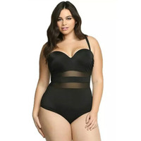 Plus Size Push Up Women One Piece Swimwear Tummy Control Mesh Insets Swimsuit Slimming Bathing Suit Maillot De Bain Femme 2019