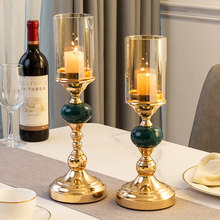 Modern Metal Glass Candle Holder for Wedding Romantic Table Decoration Christmas Family Party Table Home Decoration