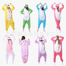 Pajama one piece cartoon autumn and winter animal yellow rabbit fleece couple home clothes green