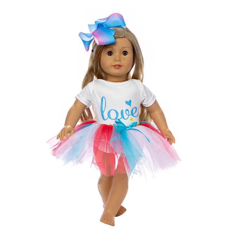 Falda arcoíris a la moda para muñeca americana de 18 pulgadas y accesorios de muñeca para niños el mejor regalo.