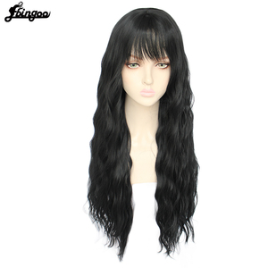 Image 4 - Ebingooロングブロンドピンクブルーブラックホワイト合成女性のためのきちんとした前髪高温繊維