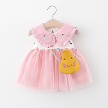 DFXD Baby First Birthday Dress 2020 Summer Sleeveless Peter Pan Collar Princess Dresses 1 Year Old Baby Girl Party Dress Vestido cute short pink and white flower girl dresses peter pan collar knee length baby girls summer dress 1st birthday outfit with bow