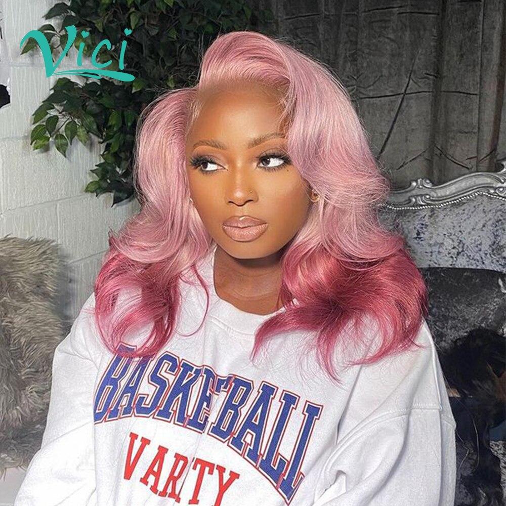 Perucas de cabelo curto cor-de-rosa bob perucas de cabelo humano pixie corte peruca de cabelo humano pré arrancado com o cabelo do bebê ombre