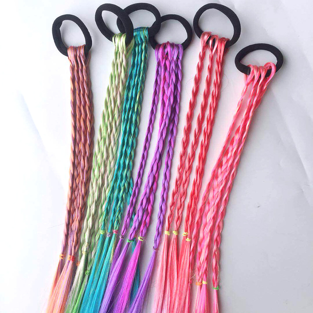 New Cute Girls Elastic Hair Rope Rubber Bands Braides Hair Accessories Wig Ponytail Hair Ring Kids Twist Braid Rope Hair Braider 3