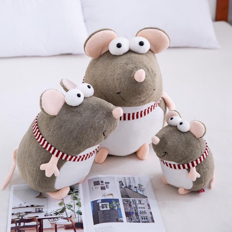 Lucky Boy Sunday Big Eyes Cartoon Mouse Stuffed Plush Toy Rat Plush Doll Birthday New Year Gift Kids Baby Doll