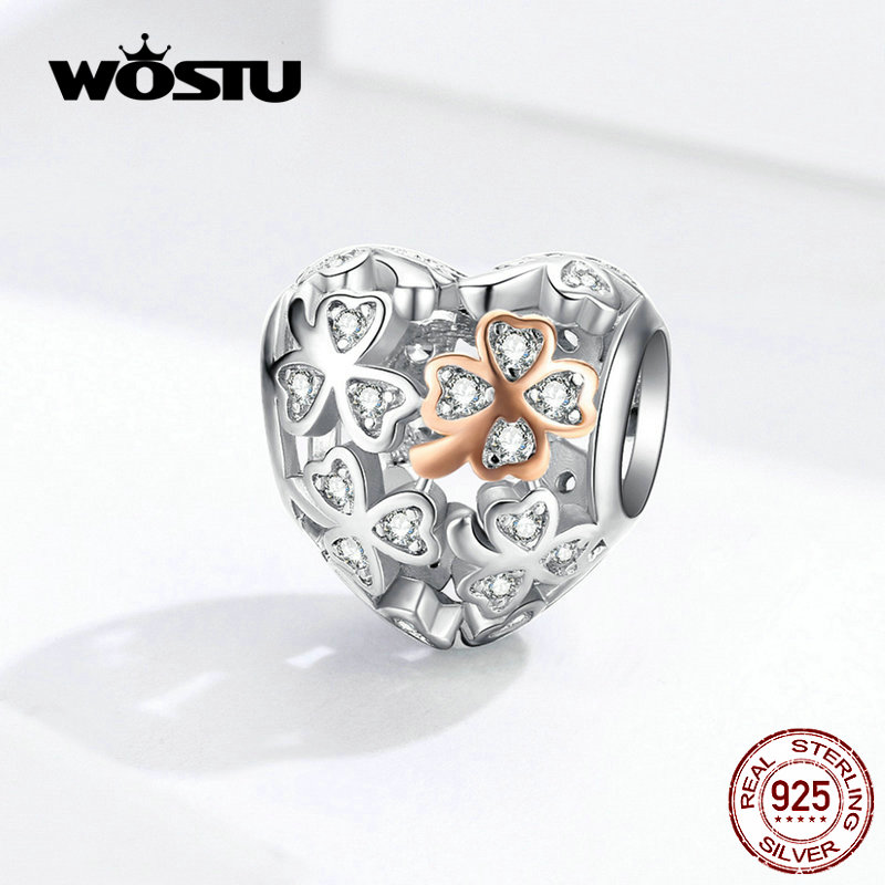 WOSTU Real 925 Sterling Silver Openwork Heart Charm Fit Original Bracelet Pendant Lucky Beads Wedding Fashion Jewelry FIC1248(China)