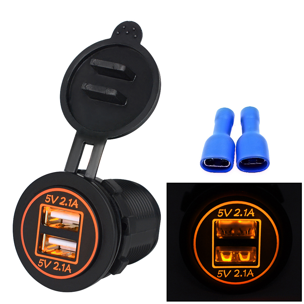 Orange LED Indicator USB Port Charger With Waterproof Cover For Motorcycle
