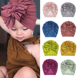 18 Colors Baby Hat for Girls Bows Turban Hats Infant Photography Props Cotton Kids Beanie Baby Cap Accessories Children Hats(China)