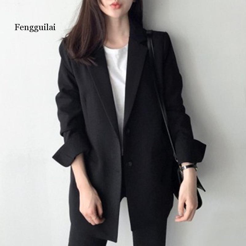 Fengguilai Women Suit All Match Autumn New Two Buckles Ladies Slim Business Attire Suit Female Daily Medium Long Coat