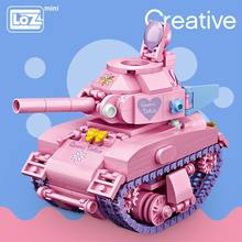 Loz mini blocos de construção rosa tanque bonito virar assemable crianças brinquedos educativos para crianças criador técnica menina jogar casa