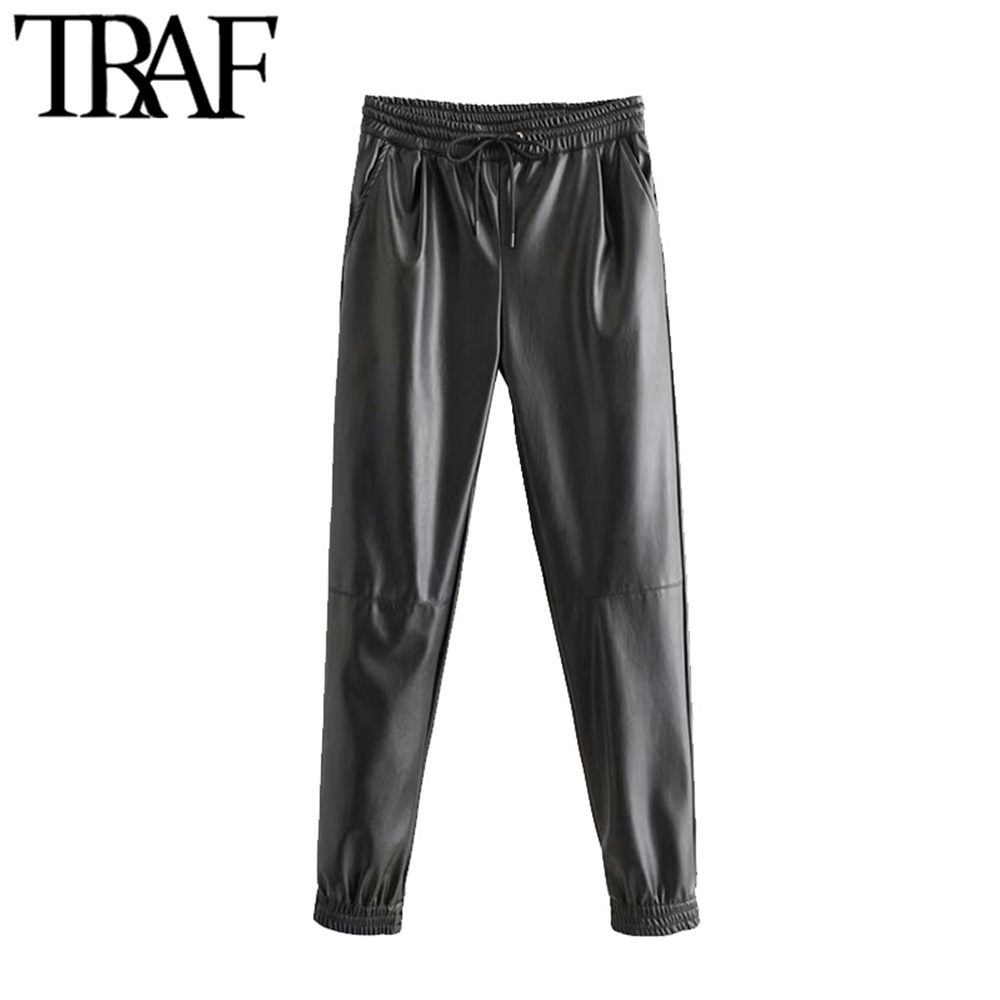 TRAF Women Vintage Stylish Pockets PU Faux Leather Jogging Pants Fashion High Elastic Waist Drawstring Ankle Trousers Pantalones