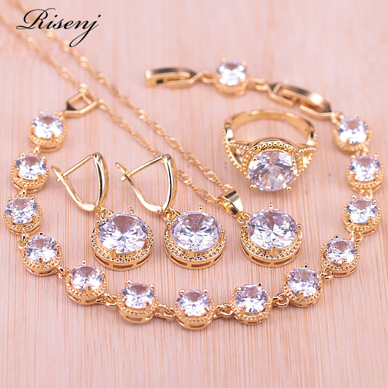Risenj Big Round White Crystal & Zircon Gold Color Costume Jewelry Set Bracelet Adjustable Ring Earring Necklace Pendant Set