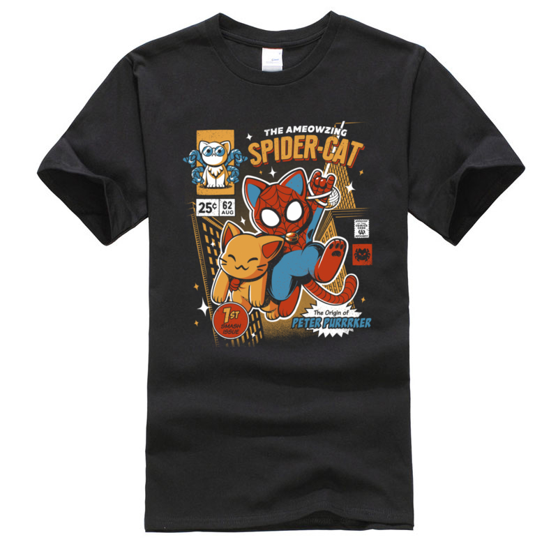 Classic Poster Men Tshirt Amazing Super Spider Cat Comic T Shirts For Men Oversized Casual Tee-Shirt O Neck 100% Cotton Clothes