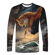 WAMNI 2019 Animal Long Sleeve T shirt Streetwear Anime 3D t-shirt Men Harajuku Unique Cosplay Wolf Kpop Tee shirt Oversize