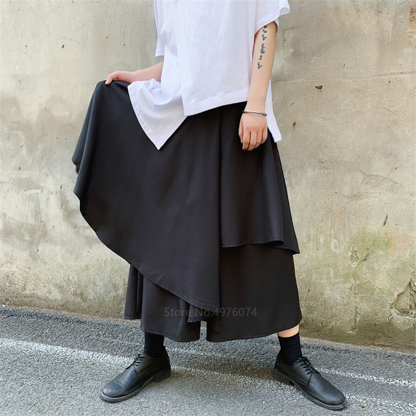 Irregular Japan Man Samurai Wide Leg Costume Splice Skirt Pants Leisure Male Kimono Loose Trousers Harajuku Hip Hop Streetwear