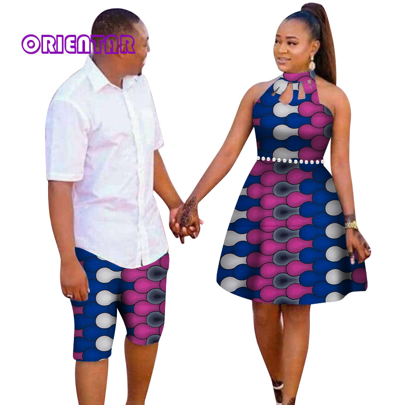 Été Couple vêtements africains hommes Shorts et femmes robe mi-longue imprimé africain Bazin Riche sans manches robes amant correspondant WYQ234