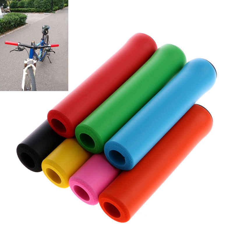 1 Pair Bicycle Handlebar Grip Cover Anti-skid Silicone Bike Grip With End Plug !