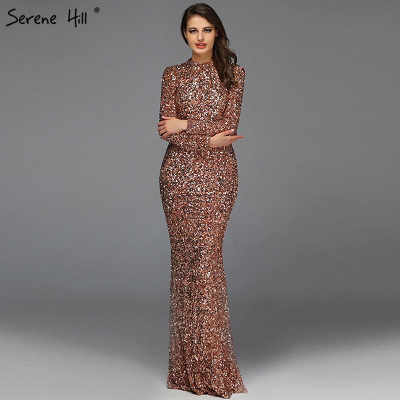 Muslim Rose Gold High Neck Luxury Evening Dresses 2019 Latest Design  3D Sequined  Long Sleeves Evening Gowns LA60851