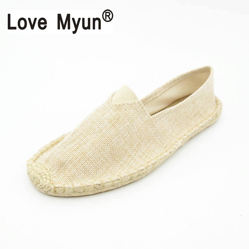Men Hemp Slip On Fisherman Shoes 2017 Brand New Plus Size 37 45 Breathable Espadrilles Flats Solid Moccasins 1003|brand shoes|shoes brand|mens hemp shoes - title=