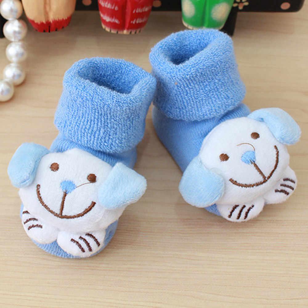 Karikatür Yenidoğan Çocuklar Bebek Kız Erkek Kaymaz sıcak tutan çoraplar Terlik Ayakkabı Çizmeler 0-12 ay Için Bebek Yumuşak sıcak tutan çoraplar Damla Nakliye