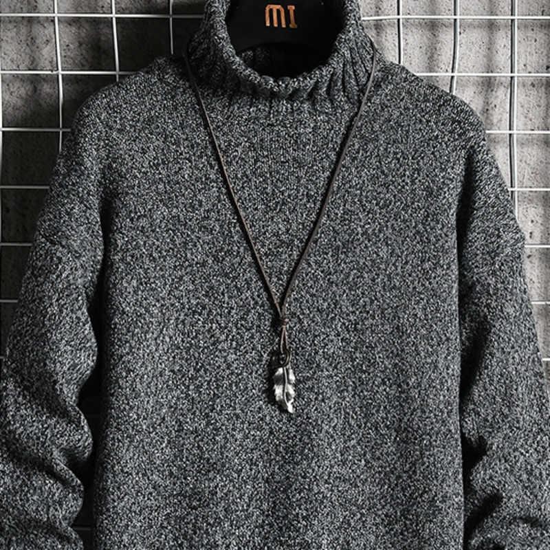 冬増粘タートルネックのセーターの男性のスリムファッション暖かい無地ニットプルオーバー男野生カジュアル長袖セーター M-5XL