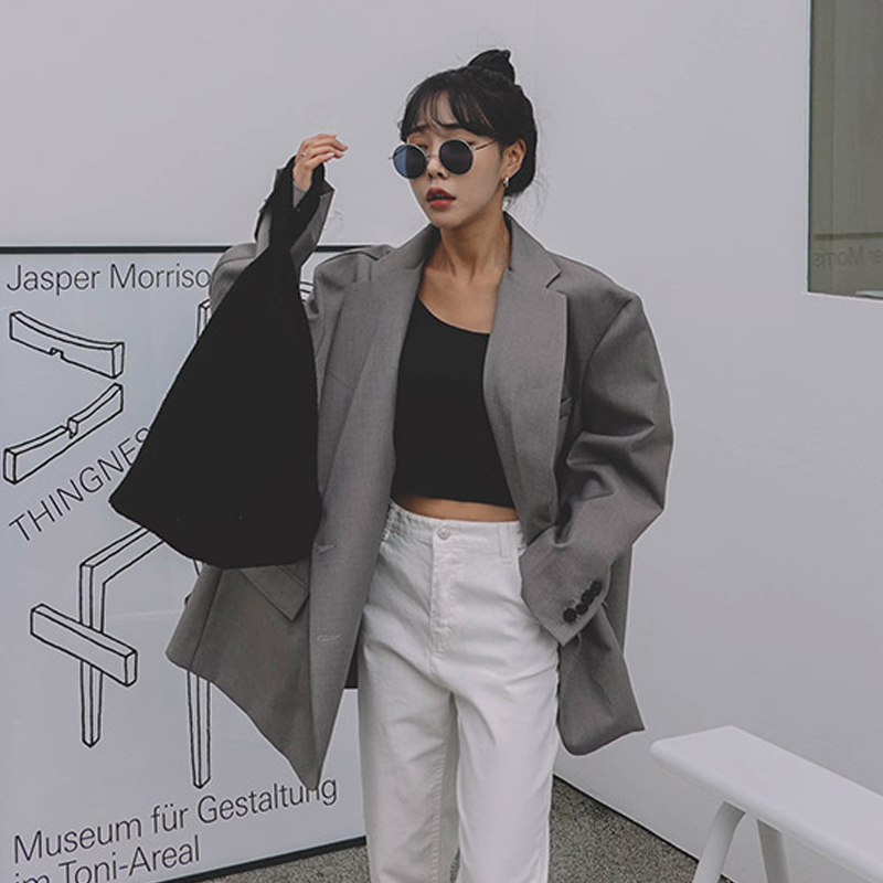 LANMREM 2020 Vintage Fashion New Loose Gray Oversize Grey Suit Spring Casual High Quality Loose Blazers Coat For Women YJ105