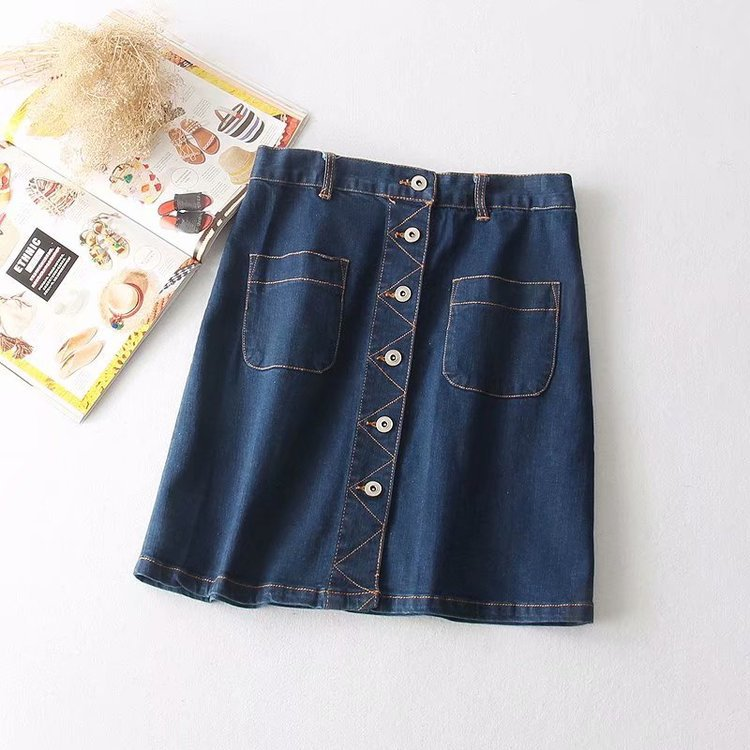 S23008 Denim Skirt Short Skirt Women's Summer New Style Single Breasted High-waisted Versatile Korean-style Skirt Students Skirt