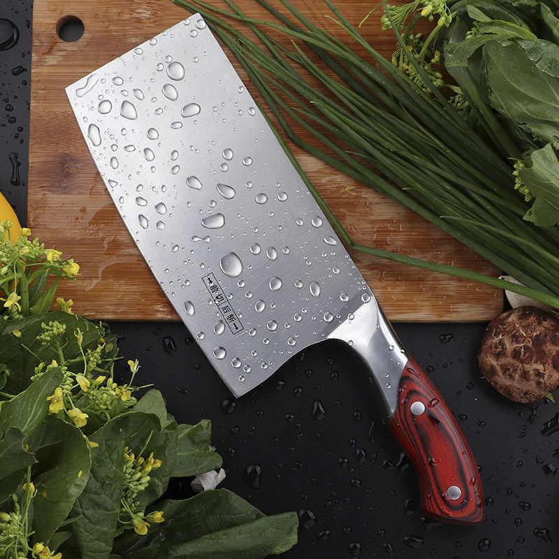 Çin mutfak bıçağı 4Cr13 yüksek karbonlu Cleaver dayanıklı şef dilimleme doğrama bıçağı Ultra keskin bıçak rengi ahşap saplı bıçak