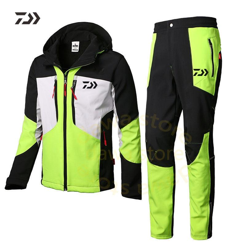 Daiwa Clothing Waterproof Suit For Fishing Jacket Windproof Warm Thick Pants Fishing Shirt Sports Wear Fishing Suit Winter Men