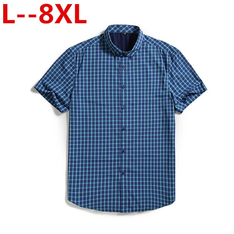 8XL 6XL 5XL 2020 Fashion Men Plaid Dress Shirts Cotton Short Sleeve Men Work Shirts Brand Casual Slim Fit Camisa Social Shirts