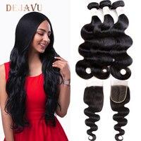 Dejavu Body Wave Bundles With Closure Brazilian Hair Bundles With Closure Human Hair Closure With Bundle Non Remy Hair Extension