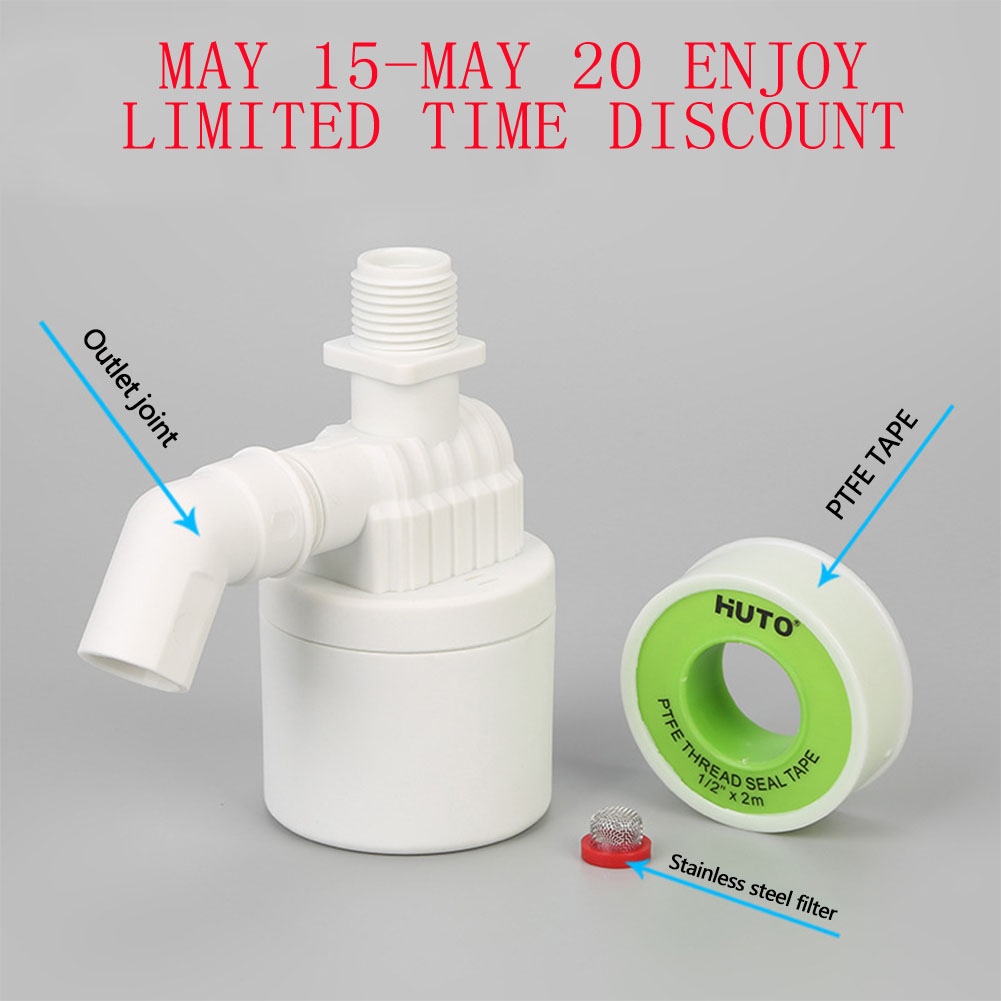 1/2'' Practical Water Level Control Durable Replacement Full Automatic Float Valve Anti Corrosion Nylon Threaded Tool White Home
